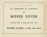 Exhibition of paintings by Moses Soyer