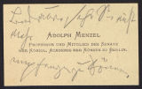 Adolph Menzel visiting card, undated