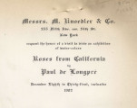 Messrs. M. Knoedler & Co. 355 Fifth Ave. cor. 34th St. New York request the honor of a visit...