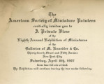 The American Society of Miniature Painters cordially invites you to a private view of the eighth...