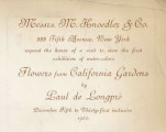 Messrs. M. Knoedler & Co. 355 Fifth Avenue, New York request the honor of a visit to view the...