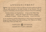 [Announcement card from the Tiffany Studios Interior Decoration Department]
