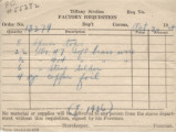Tiffany Studios factory requisition